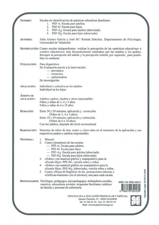 Prácticas Educativas Familiares (PEF) Escalas de identificación (3-10 años)