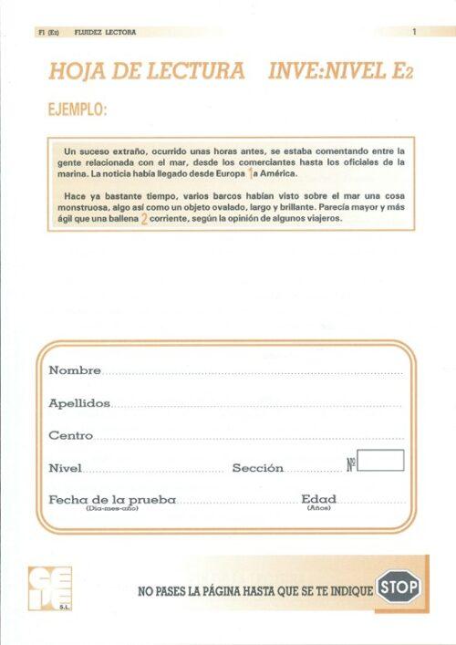 INVE E2. Hoja de Fluidez Lectora (25 unidades)